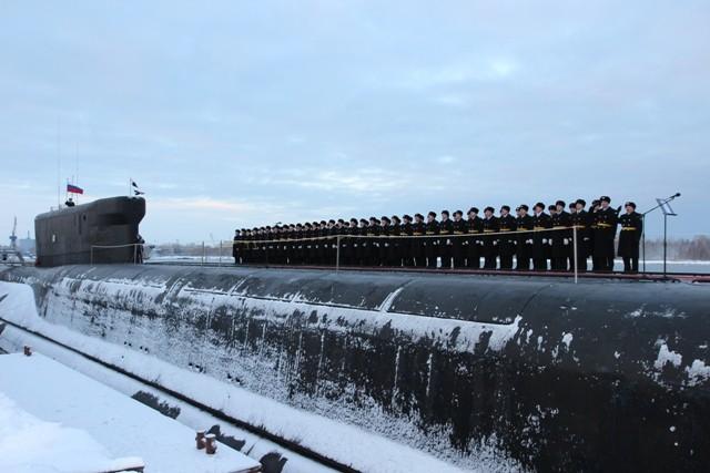 Atomowy okręt podwodny Władymir Monomach. Zdjęcie pochodzi z The Barents Observer