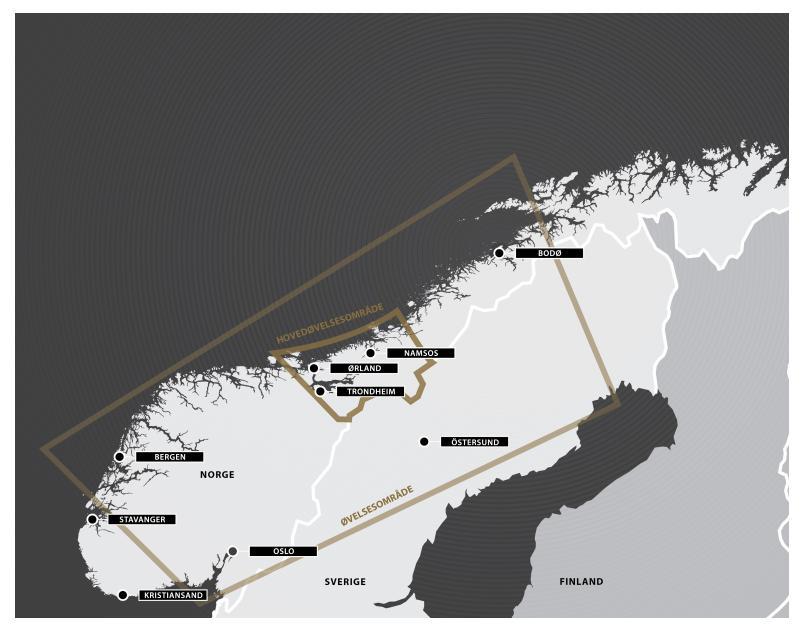 Obszar manewrów. Zdjęcie z forsvaret.no